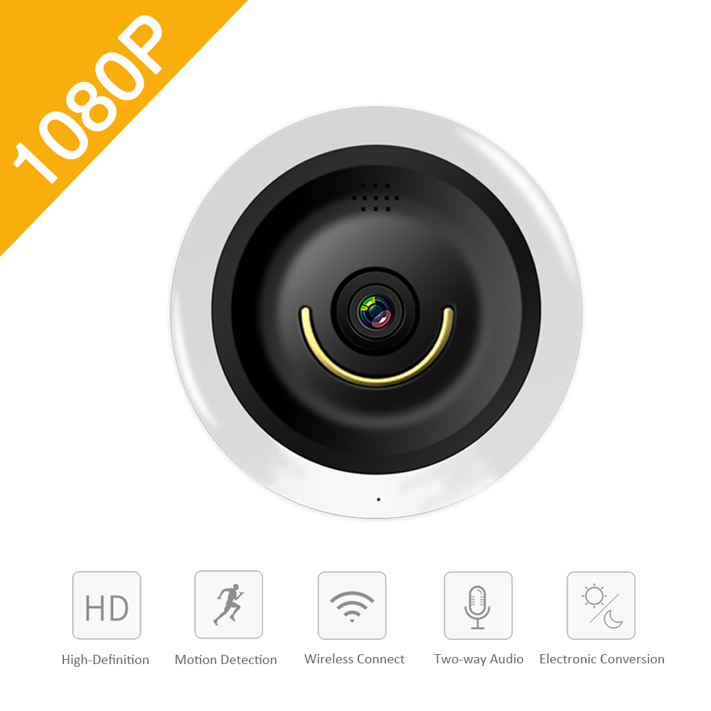 YSA 2.0MP VR Wireless IP Camera Panoramic Wi-Fi 1.44mm FishEye WIFI Camera 360 Degree Mini CCTV Home Security Mini P2P Camara<br>