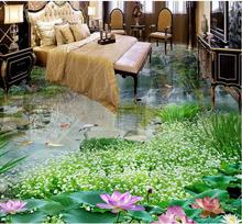 self adhesive flooring Custom 3d landscape wallpaper Waterfall lotus 3d flooring wallpapers for walls vinyl flooring