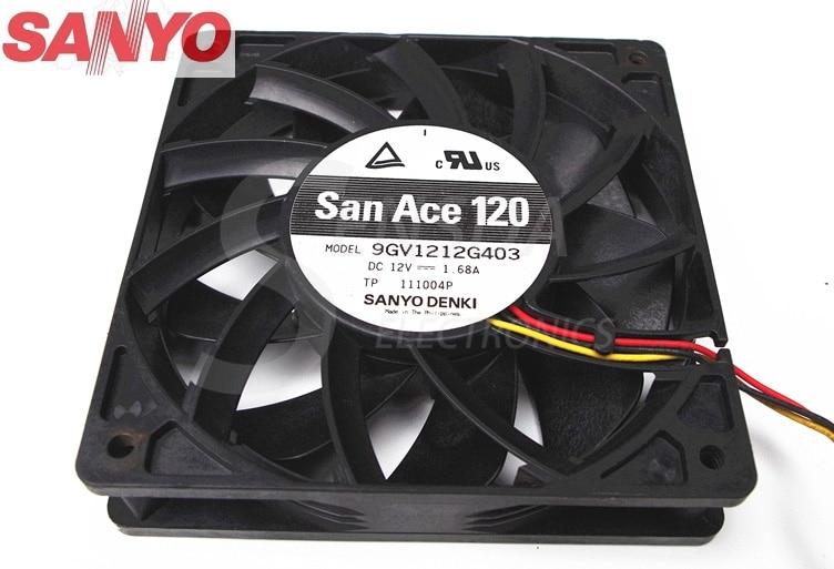 Original Sanyo 9GV1212G403 12025 120mm 12cm DC 12V 1.68A 3-wire server inverter case axial cooling fans<br>