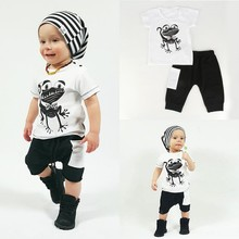 2 Pcs Autumn 2016 Baby Clothes Toddler Kids Boys Girls Frog Pattern T-shirt Tops+Shorts Pants   Children Outfits Clothing Sets