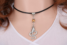 Vintage Silver Cobra Snake Leather Necklace Pendant Glass Bead Charms Choker Collar Statement  For Women Jewelry DIY Hot A649