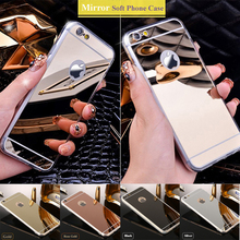 Brand Cheap Mirror Case for iPhone 5 5s Electroplate Ultra Slim Soft TPU Phone Cases For iPhone SE 6 6s 7 Plus Back Cover Capa