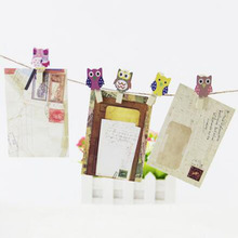 Hot Sale 10Pcs/Pack Mini Owl Wooden Clothes Photo Paper Peg Clothespin Cortoon Clips Home Wedding Decor with Rope Craft Postcard(China)
