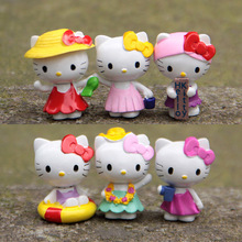 6pcs/lot New Hello Kitty toys dolls KT Action Figures Toys Model Lovely Anime Plastic PVC Toy Gifts For Kids