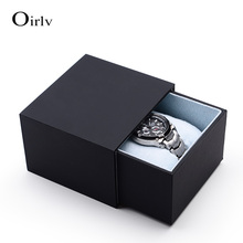 Oirlv free shipping luxury black touching paper custom logo mens watch box for counter showcase bracelet jewelry packing box