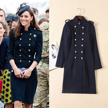 Buy European Women Clothing 2017 Autumn Winter Princess Kate Middleton Navy Long Sleeve Stand Collar Double-breasted Fashion Dresses for $63.60 in AliExpress store