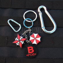 black background color design Resident Evil Umbrella Corporation Blood Type B POS  Keychain ring 3D PVC Patch Badges PB363