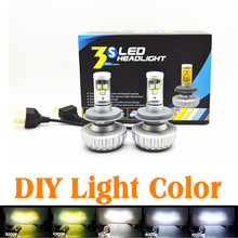 Car DIY Styling Light Color 30W 3000LM CREE LED H1 H3 H4 H7 H8 H9 H11 hb3 9005 hb4 9006 DRL Fog HEADLIGHT NO NEED BALLAST RELAY(China)