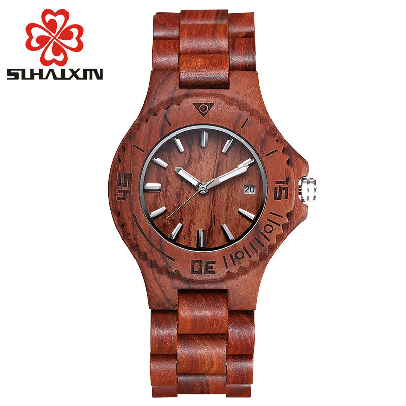 SIHAIXIN fashion wooden watch women quartz ladies Watch 2017 with calendar display dresses girls watch best gift kadin saat<br>