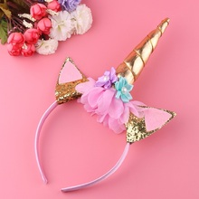 1PC Handmade Kids Party Gold Unicorn Headband Horn Gold Glittery Beautiful Headwear Hairband Hair Accessories Gold/Silver