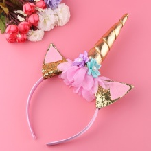 1PC Handmade Kids Party Gold Unicorn Headband Horn Gold Glittery Beautiful Headwear Hairband Hair Accessories Gold/Silver(China)