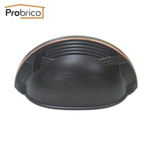 Probrico 15 PCS Shell Furniture Drawer Knob 86mm PD81253ORB Metal Antique Oil Rubbed Bronze Kitchen Cabinet Handle Cupboard Pull(China)