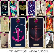 Soft TPU Silicone Phone Case For Alcatel OneTouch Pixi 4 5.0'' OT-5010 5010D 3G Version Cover Effiel Towers Shell Housing