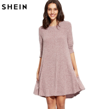 SHEIN Winter Dresses Women 2016 Burgundy Round Neck Three Quarter Length Sleeve Marled Knit Ribbed Swing Casual Shift Dress(China)