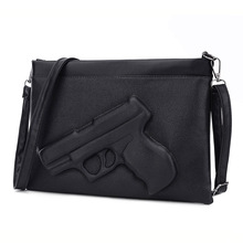 Fashion Women Shoulder Crossbody Bag 3d Gun Handbags Clutch Pu Leather Pistol Bags Ladies Messenger Bag Envelope Tote(China)
