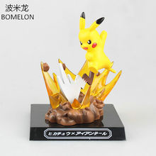 Kawaii Pikachu Anime Figurines Electric Shock Pikachu Action toy Figures Scene Model Brinquedos Kids Toys For Boys Birthday Gift