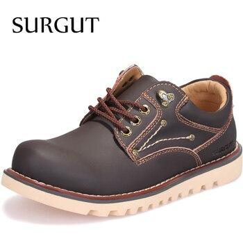 SURGUT Homens Marca Genuínos Homens de Couro Marrom Sapatos Masculinos Trabalho Comfty Calçados de Moda de Alta Qualidade Primavera Outono Homens Sapatos De Trabalho