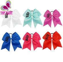 7 Inch iBase Solid Grosgrain Ribbon Cheerleader Cheer Bow With Band For Girls Glitter Gift