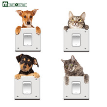 MARUOXUAN Funny Cat Dog 3D View Vivid Wall Sticker Bedroom Bathroom Switch Decor Kitchen Home Decals Animal Wall Poster(China)