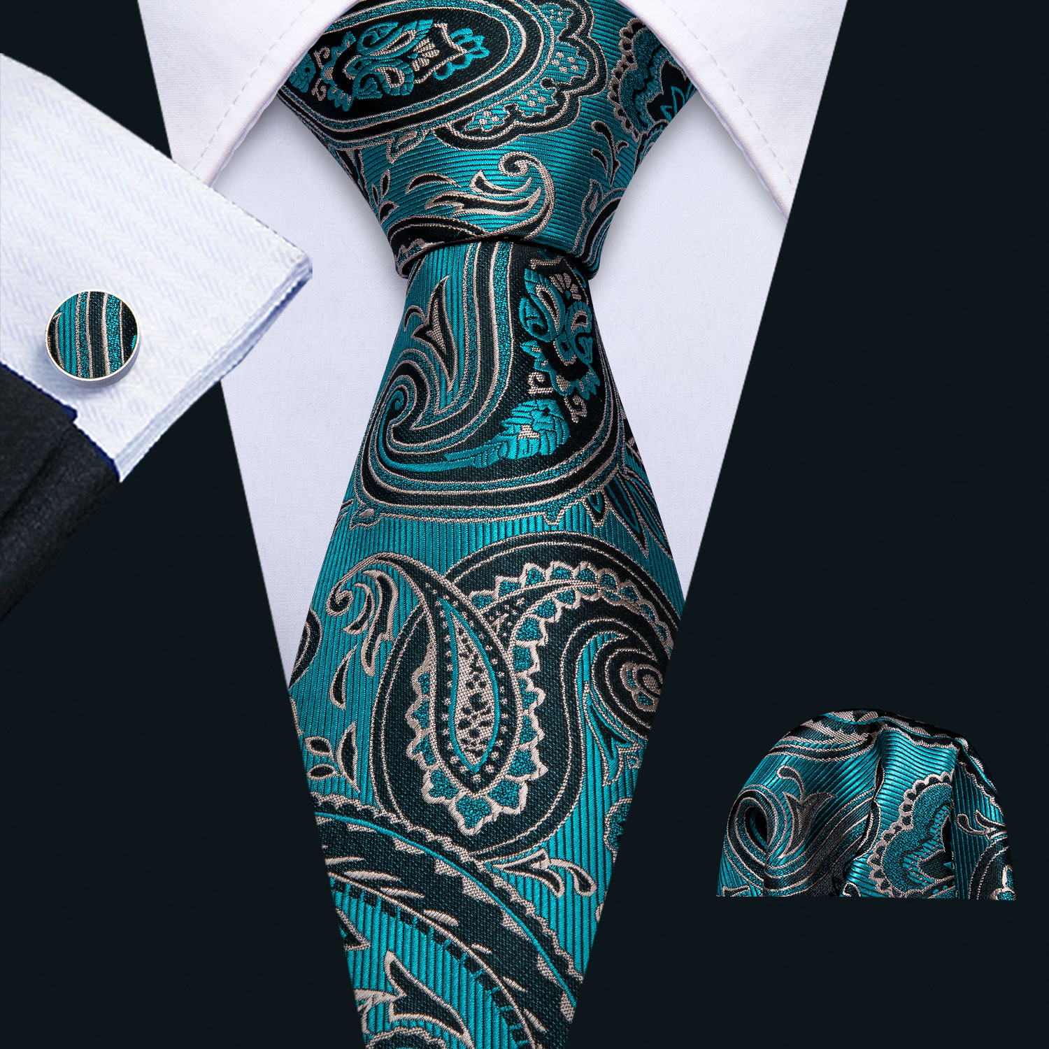 2019 Mens Wedding Tie Teal Paisley Silk Tie Hanky Set Barry.Wang Jacquard Woven Fashion Designer Neck Ties For Men Party FA-5139