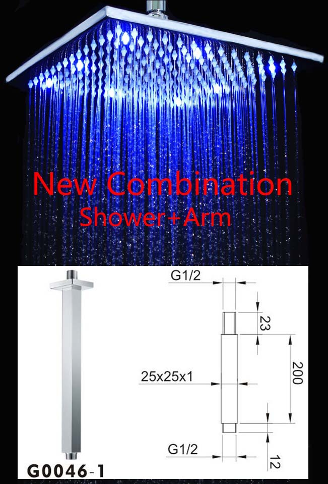 Wholesale LED Rain Shower,Shower Arm,LED Shower Head,bathroom shower set<br><br>Aliexpress