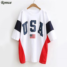 ROMWE American Flag Tee Dress Color Block Loose Women White Print Summer Dress 2017 Casual Half Sleeve Letter Mini Shift Dress