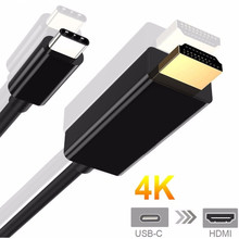 Кабель usbc Тип C к HDMI 4 К HDTV Кабель-адаптер Золото USB 3,1 USB-C к HDMI для Apple MacBook, chromeBook пикселя, huawei MateBook(China)