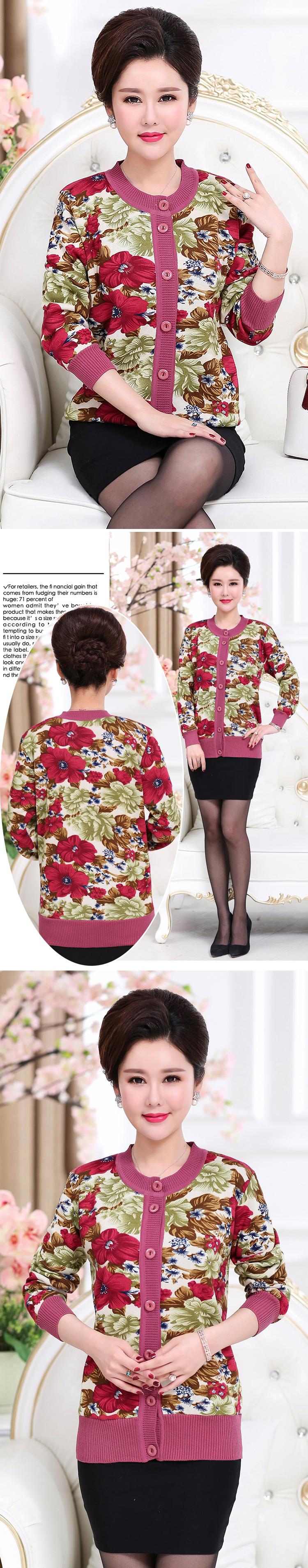 WAEOLSA Winter Woman Flower Cardigan Sweaters Middle Aged Women\`s Thicken Fleece Knitwear Lady Knied Cardigan Sweater Warm Top Mother (7)