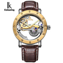 IK Top Brand Luxury Self Wind Automatic Mechanical Watches Men Rose Gold Case Genuine Leather Skeleton Watches relogio masculino(China)