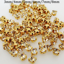 200pcs/pack High quantity glass round shape White color gold base sew on rhinestones with calw,diy/clothing accessories