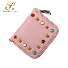 New Fashion Women Wallets High Quality Colorful Rivet Short Woman Small Purse Zipper Crossbody Chain Bag Clutch Designer Wallet(China)