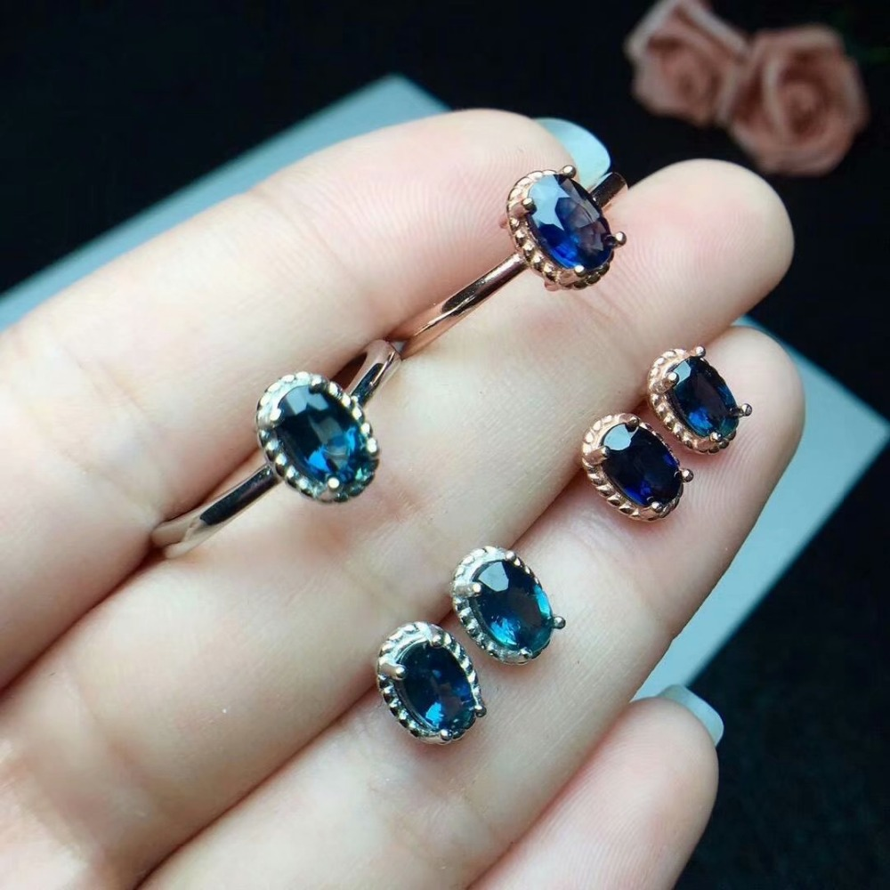 shilovem 925 silver sterling natural sapphire stud earrings rings party fine Jewelry women 4*6mm trendy new cj040601agl