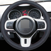 Black Leather Hand-stitched Car Steering Wheel Cover for Mitsubishi Lancer 10 EVO Evolution
