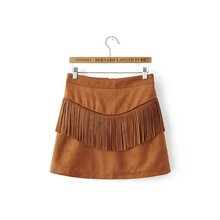 American Apparel Empire Promotion 2016 Saias Skirt 4205- New Arrival Autumn Women Skirts Wholesale Color After Tassel Suede For