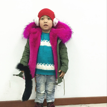 2017Wholesale Green parka fushia kids winter short coat, boy &girls fashion real collar jacket XS-3XL