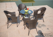 Rattan chair and coffee table casual outdoor furniture balcony garden rattan table and chairs LT01