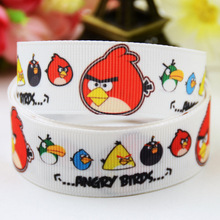5Yards Cartoon Birds Game Grosgrain Ribbon 22mm Single Face Printed Blue Ribbons Cuff Kids Character Hairbows Accessories