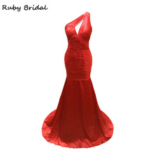 Ruby Bridal 2017 Luxury Long Mermaid Red Taffeta Pleats Beaded Evening Dresses Vestido De Festa One Strap Prom Party Gown L053(China)