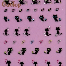 Nail Art Stickers Decals Nail Decoration Diamond Cat Butterfly Design 0324B
