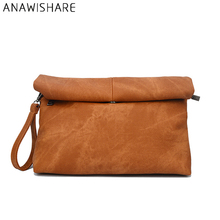 ANAWISHARE Women Leather Handbags Day Clutches Bags Ladies Evening Party Bags Black Crossbody Bags Envelope Messenger Bags T02