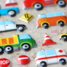 Ambulance Fire Mud Truck Police Car Taxi Transportation Scrapbooking Bubble Stickers Fashion Craft Special Emoji Reward Kid Toys(China)