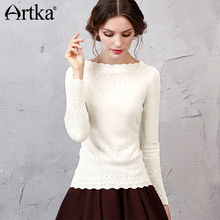 Artka 2017 Women's Long Wool Lace Sweater Autumn Long Sleeve Wool Pullover Winter Sweater Vintage Jumper Knitwear YB11255Q(China)