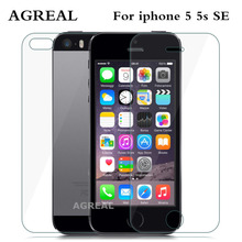2PCS= Front + Back Premium Tempered Glass for iPhone 5 SE AGREAL Anti-scratch 9H 0.26mm 2.5D Screen Protector Film for iPhone 5s