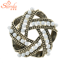 Vintage Men Women Jewelry Gold-color Brooches Imitation pearl Five pointed star Bird's nest Lapel Hijab pins Scarf buckle clips