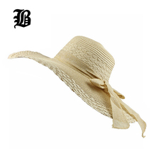 [FLB] 2017 Spring Wholesale and Retail Fashion Women Wide Large Brim Floppy Summer Beach SunHats Straw Cap with big bow