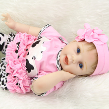 22 Inch Silicone Reborn Babies Realistic Princess Girl Dolls Lifelike Reborn Kids Children Birthday Gift(China)