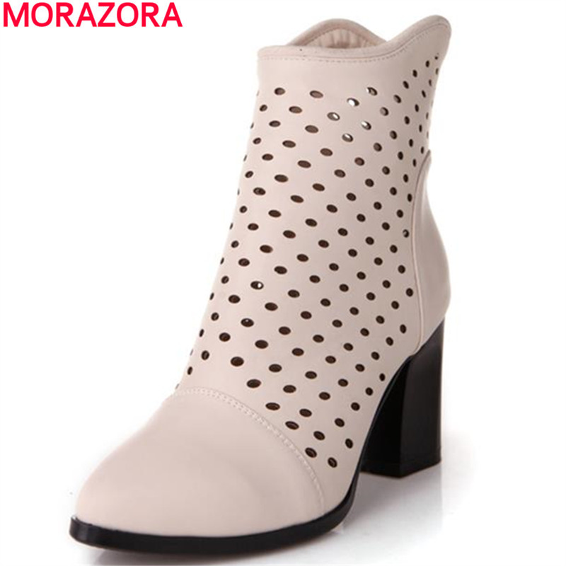 2017 CUT outs autumn simple fashion zip thick square heel dress shoes solid platform pointed toe women shoes ankle boots<br>