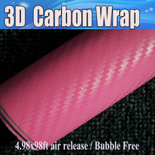 Pink 3D Carbon Fibre Vinyl Film Roll with Air release Car Wrapping Boat / table Wrap Covers Thickness: 0.18mm Size:1.52*30m/Roll