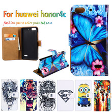 Hot Selling Flip Holster For Huawei Huawei Honor 4C C8818 5.0 Inch Cases Shell DIY Painted Leather  Fundas Carcasa