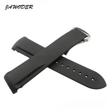 JAWODER Watch band 20mm Black Waterproof Diving Silicone Rubber Watch Strap with Silver buckle for Marine universe hippocampus